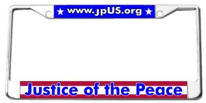 License Plate with JPus.org and Justice of the Peace text