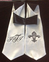 black officiant stole with monogram