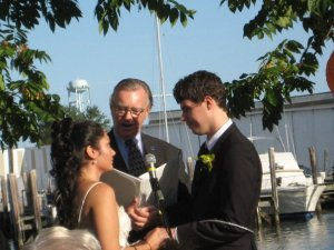 Exchanging vows by the Mystic River