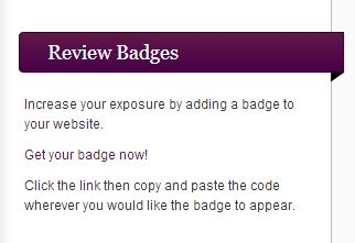 Review badges link