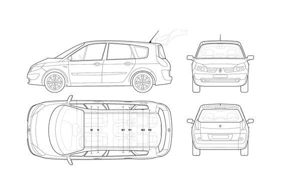 Download drawing Renault Grand Scenic Minivan 2006 in ai