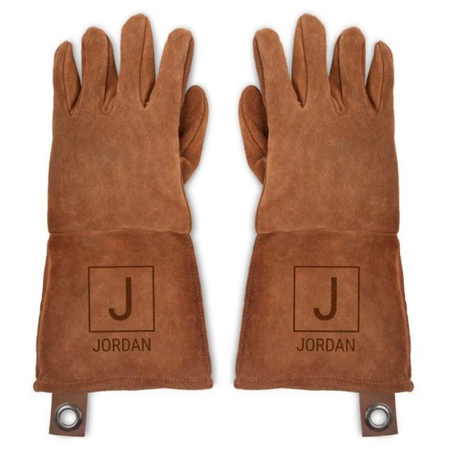 Grillhandsker i læder med navn Image