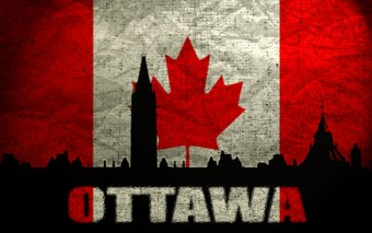 View of  Ottawa on the Grunge Canadian Flag