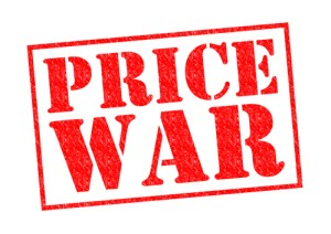 PRICE WAR red Rubber Stamp over a white background.