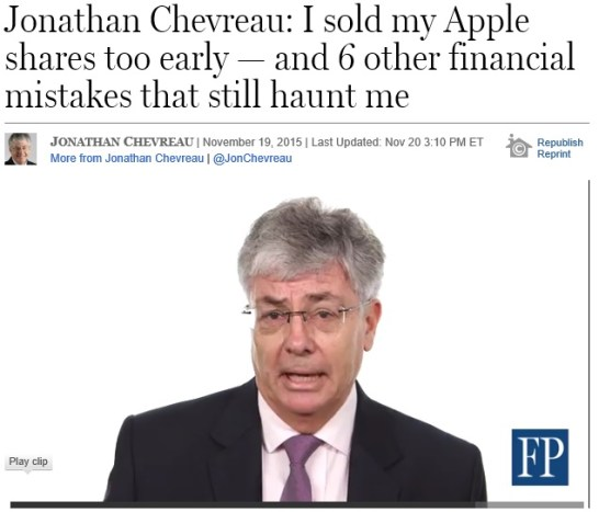 Jonathan Chevreau: I sold my Apple shares too early — and 6 other financial mistakes that still haunt me