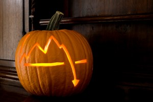 Scary Halloween pumpkin from Wall Street in 2008