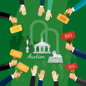 Auction and bidding selling antiques vector illustration