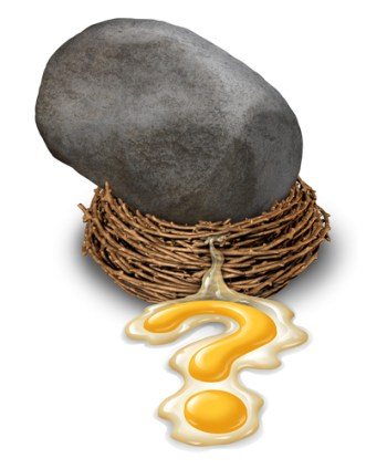 Financial impact concept as a nest egg disaster with a large boulder or rock that has fallen and crushed a retirement savings fund with the yolk pouring out in the shape of a question mark as a business symbol of investment risk.