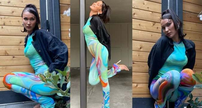 Bella Hadid models a psychedelic aqua marble print outfit on Instagram