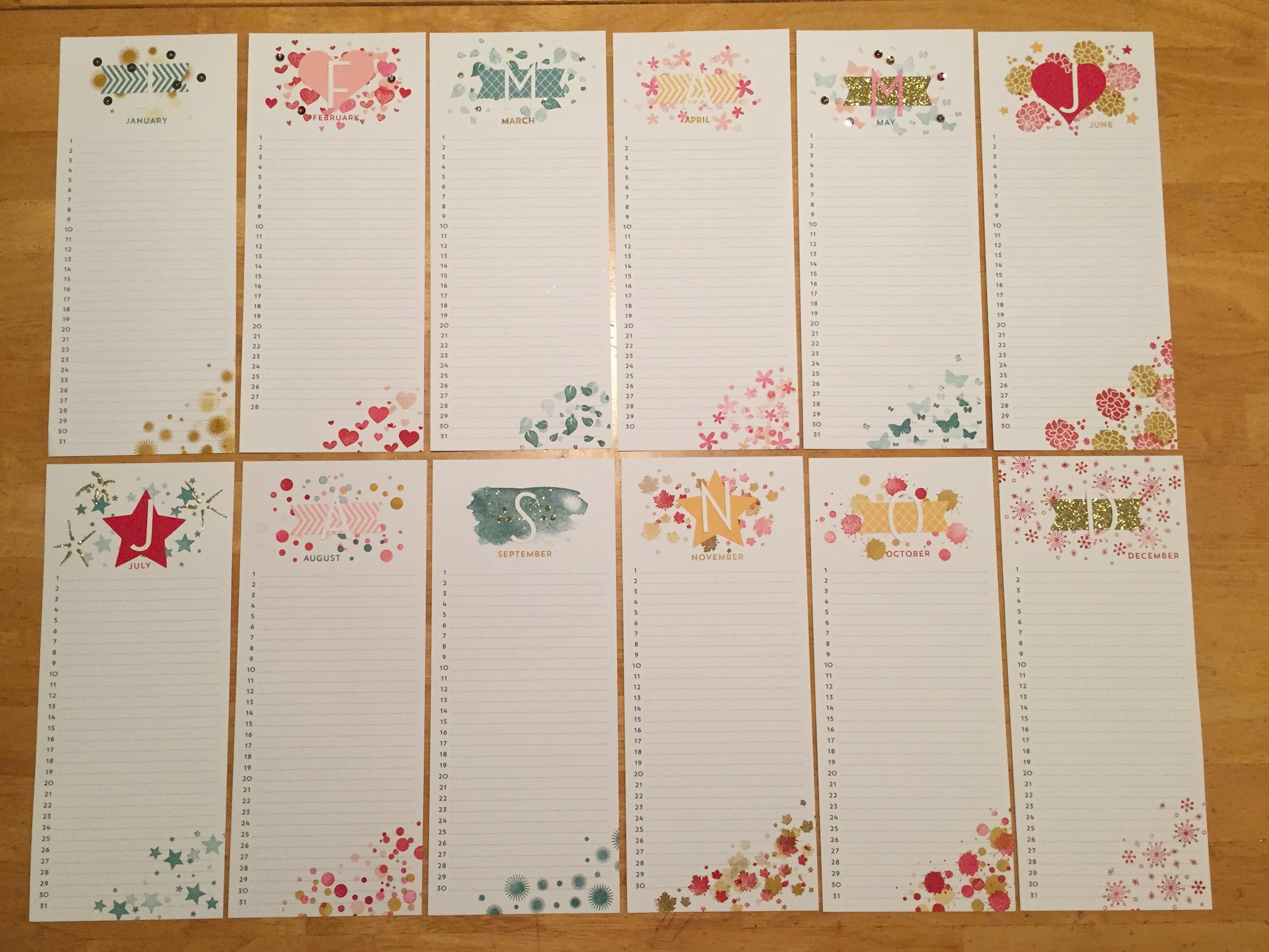 perpetual birthday calendar project kit  u2013 finders keepers