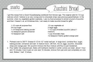 Zucchini Bread Recipe Card