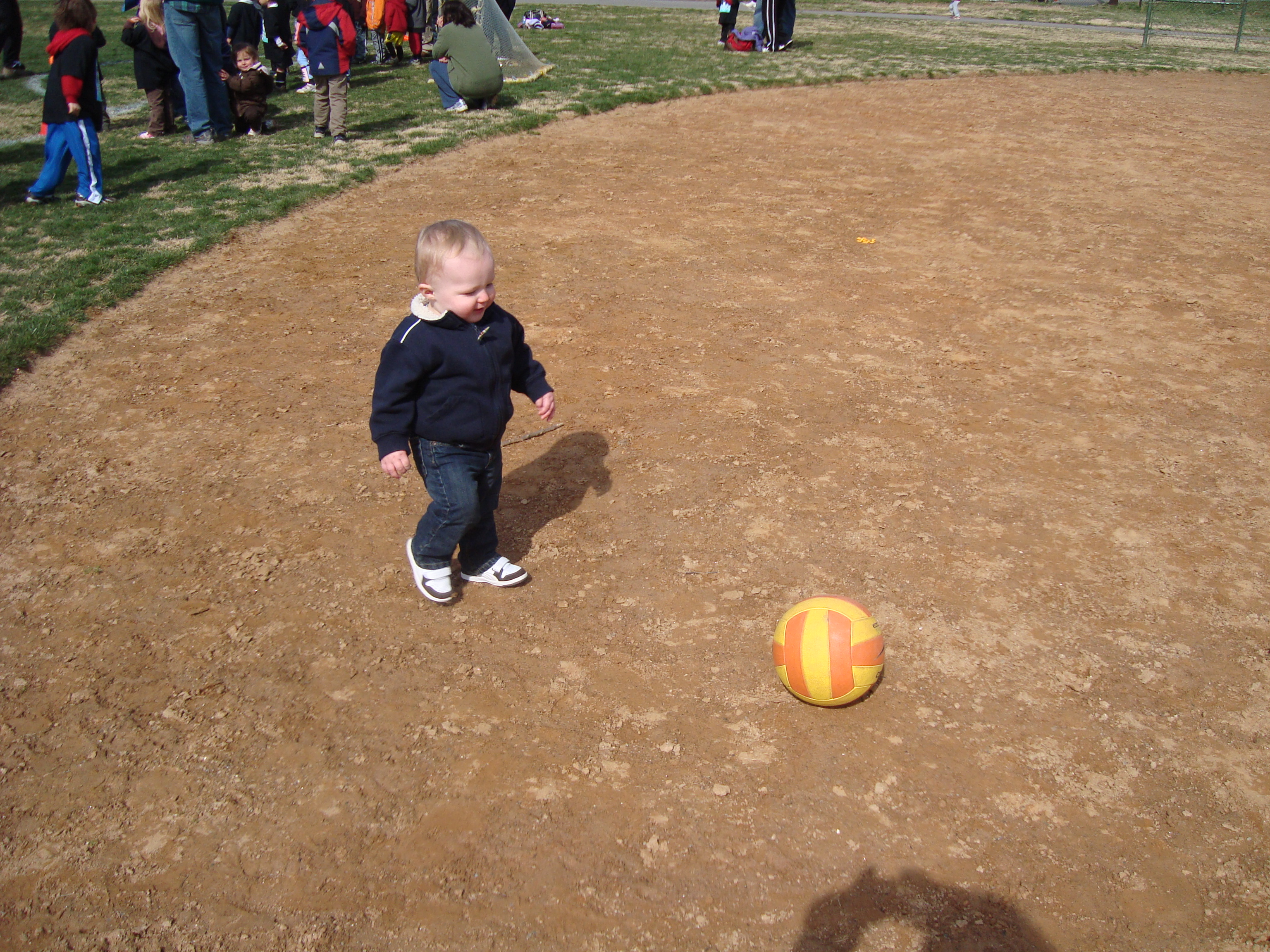 Cooper got into the soccer action too.