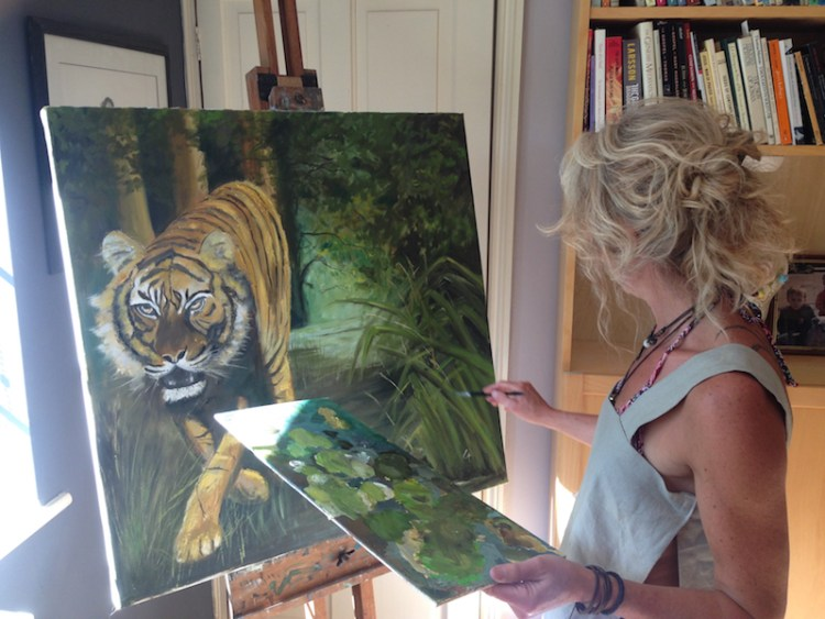 Linda Richardson putting final touches to The Tyger!