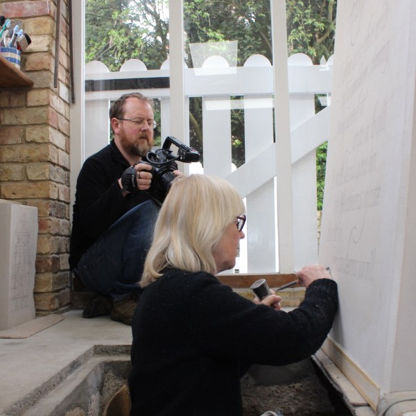 film Finding Blake - showing James Murray-White filming Lida Kindersley at work on the Blake ledger stone