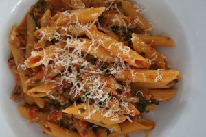 roasted red pepper and sausage pasta