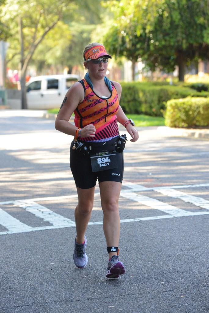triathlete on the run course of Ironman 70.3 Augusta