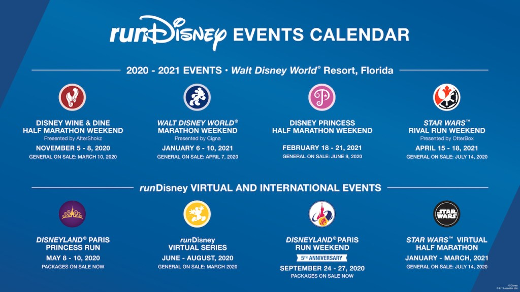 runDisney race calendar for 2020 and 2021, including on-sale dates.
