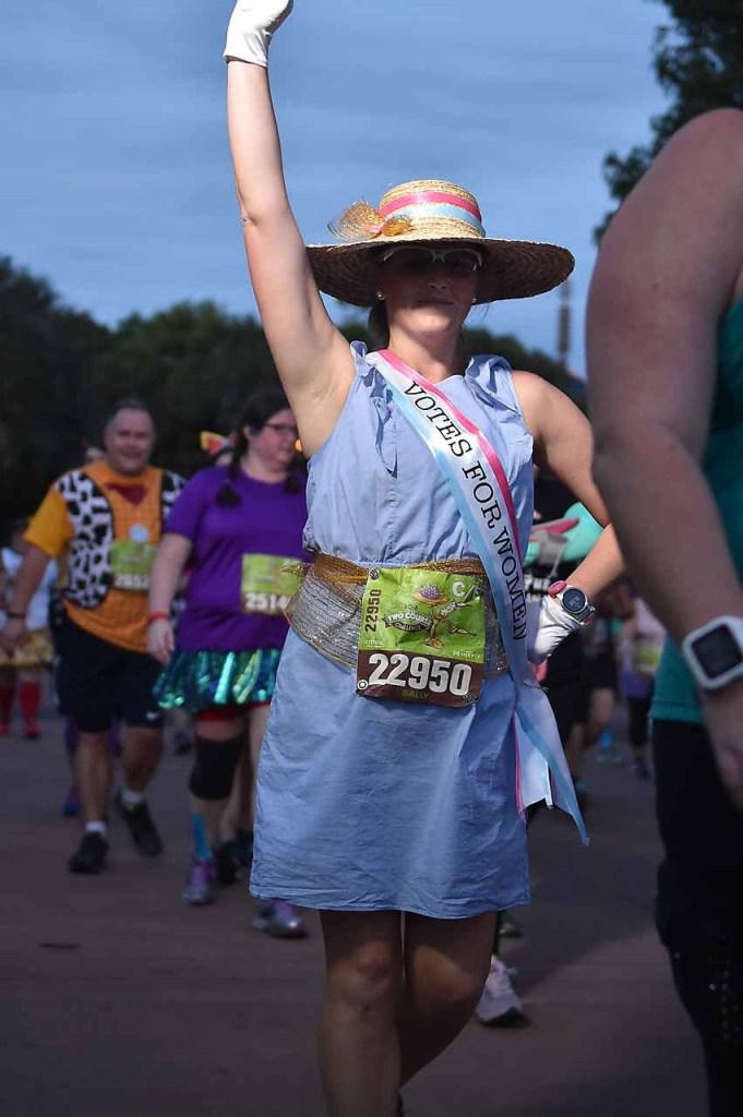 runDisney wine and dine half marathon weekend sister suffragette costume