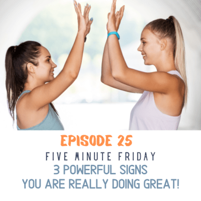 Two women giving a high five because they are each doing great!