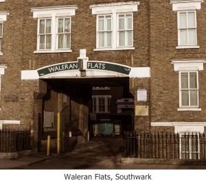 Waleran Flats Southwark with caption