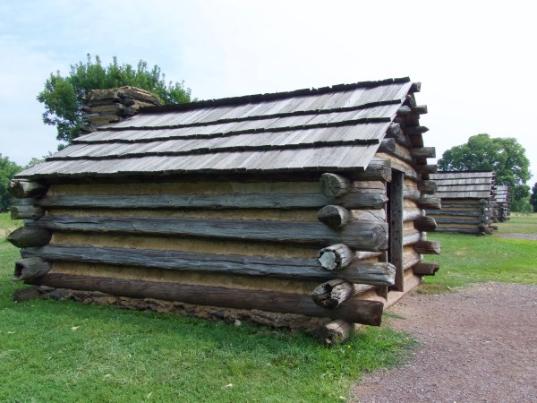 Log cabin soldiers' hut at Valley Forge