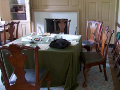 Dining room at Washington's headquarters house at Valley Forge.