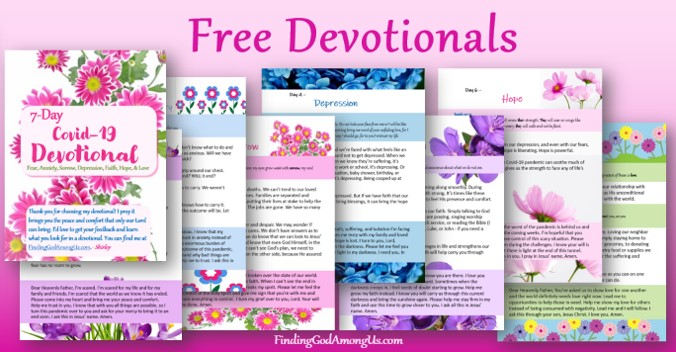 Free 7-day Covid19 Devotional. From fear, anxiety, depression, and sadness... to faith, hope, and love. Free Christian Devotionals delivered to your inbox. Author Shirley Alarie. Prayers to help with anxiety. Prayers for anxiety worry and fear.