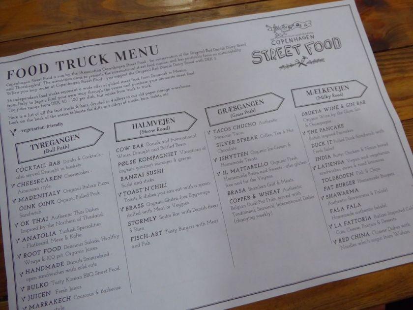Food Truck Menu Streetfood Kopenhagen Papiroen