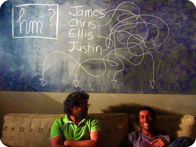 Under the chalkboard