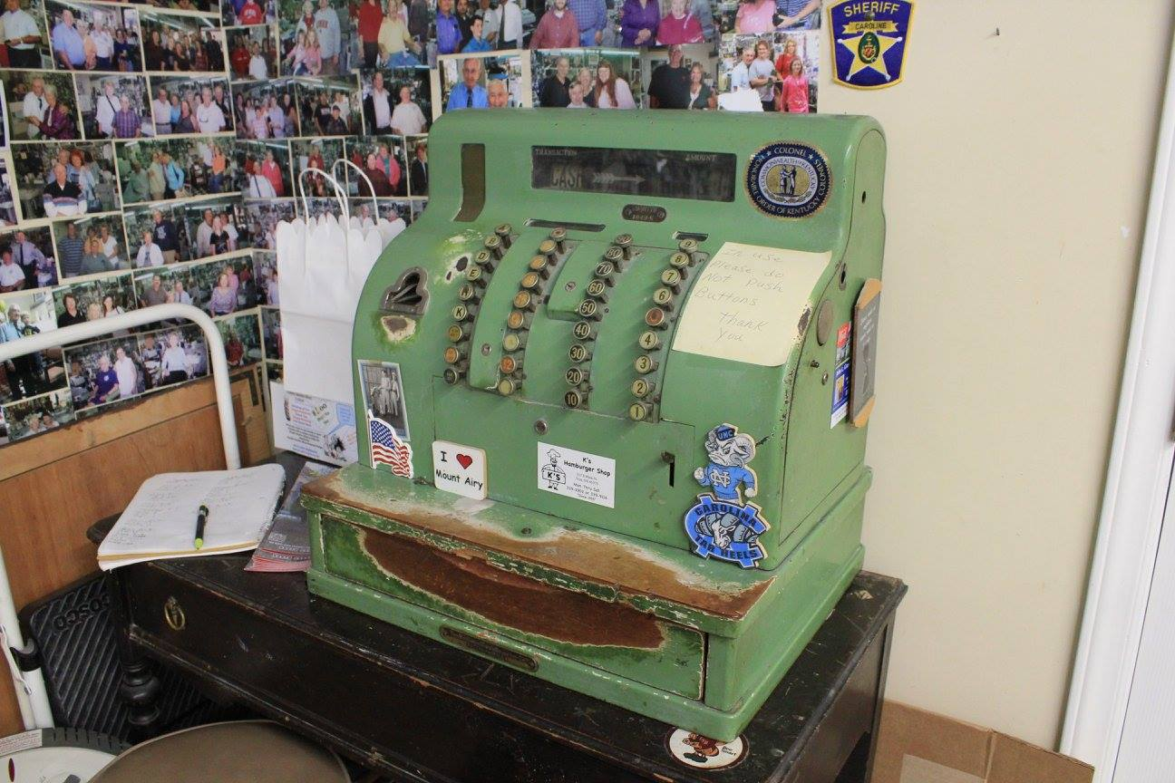 Old cash register at Floyd's Barber Shop in Mayberry