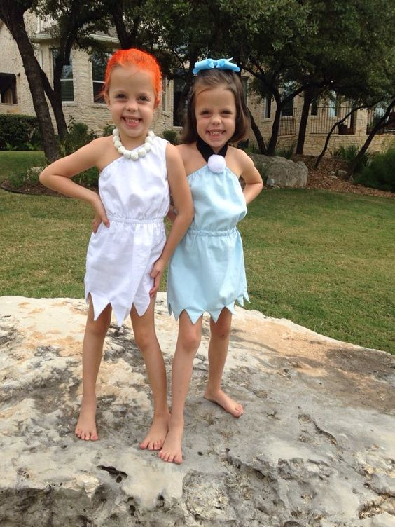 Wilma and Betty Halloween costumes for sisters