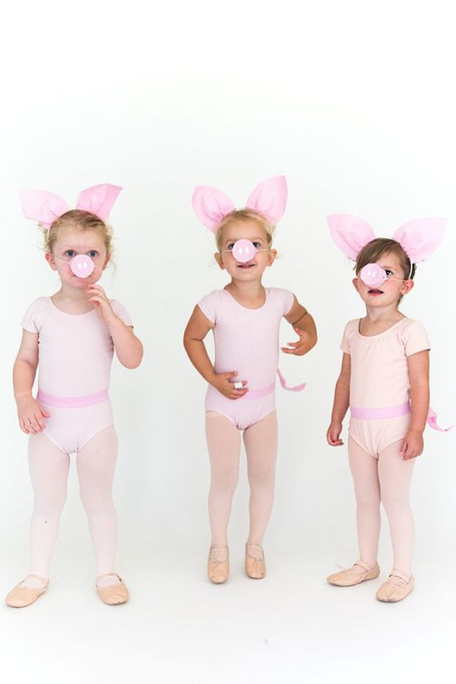 3 little pigs Halloween costumes for sisters