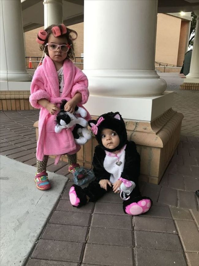 Crazy cat lady and kitty sister Halloween costumes