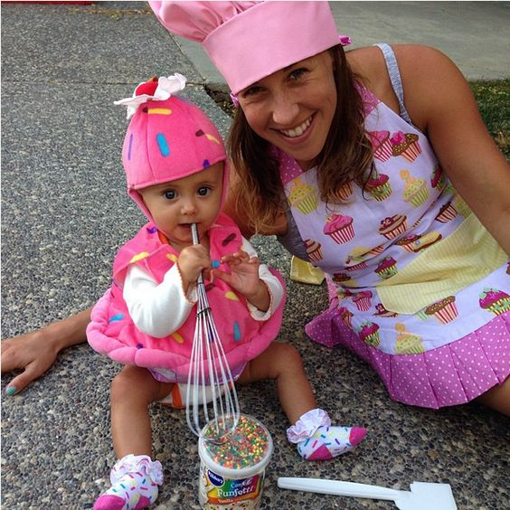 Baker and Cupcake matching Halloween costumes for sisters