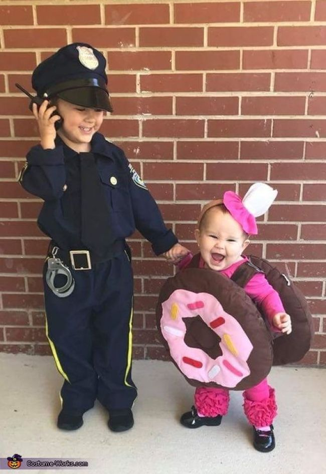 Cop and donut Halloween costumes for sisters