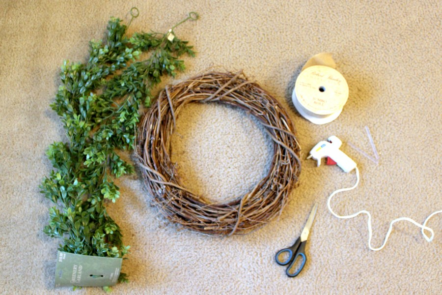 supplies to make a boxwood wreath