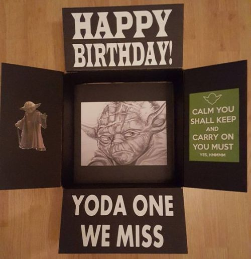"Star Wars birthday care package that says, ""Yoda one we miss!"""