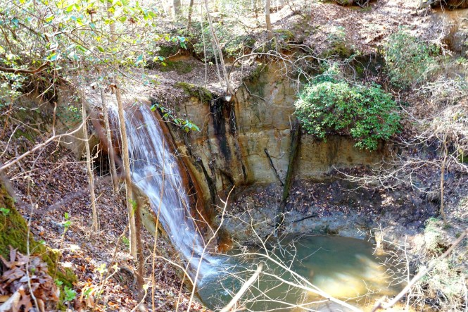 the waterfall at Clark Park in Fayetteville, NC