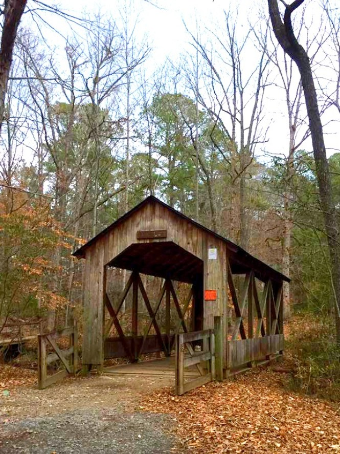 the covered bridge at Clark Park in Fayetteville, North Carolina