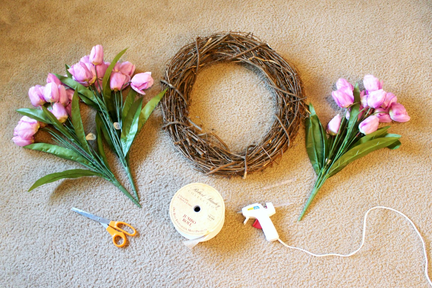 how to make a spring wreath - gather your supplies