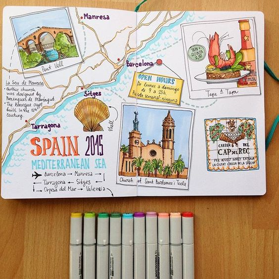 Bullet Journal travel layout with illustrations.