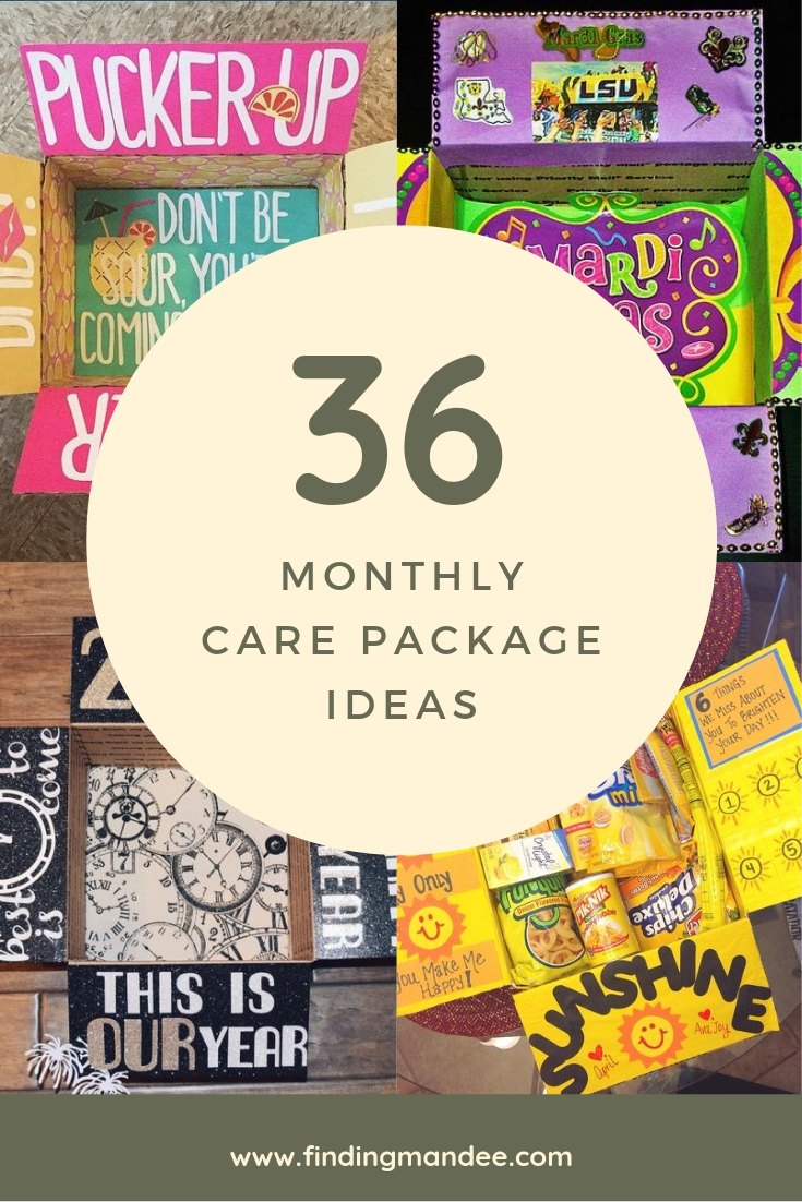 A year of monthly care packages ideas and themes.