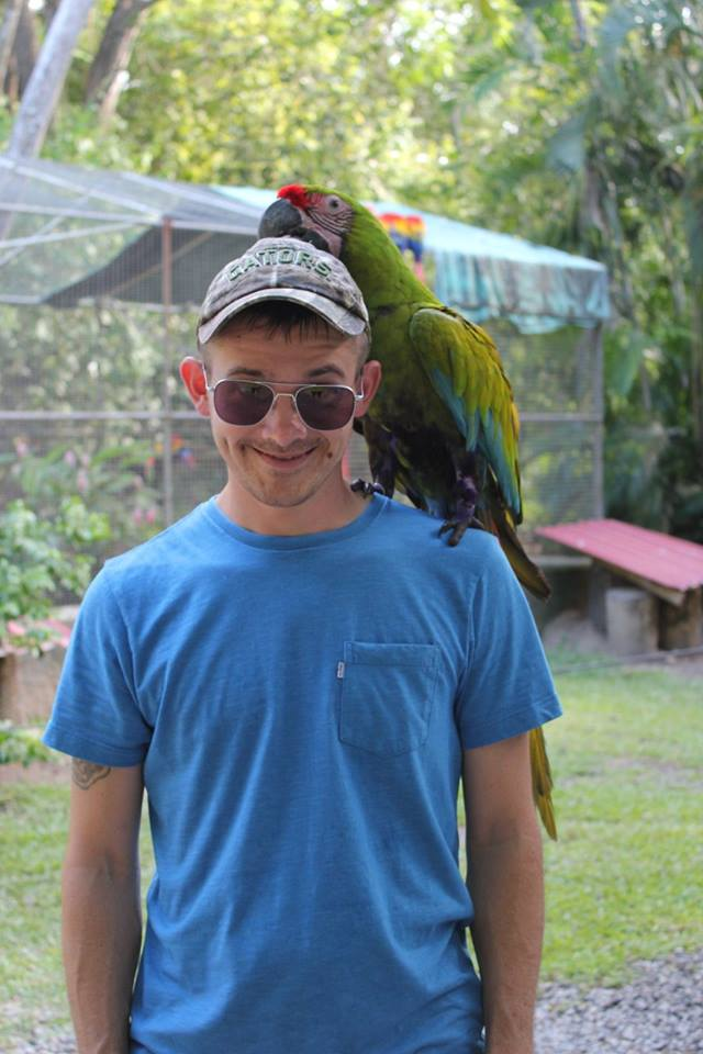Take a picture with exotic birds at Gumbalimba Park in Roatan