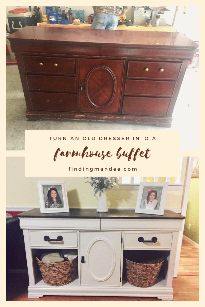 How to turn an old dresser into a farmhouse buffet | Finding Mandee