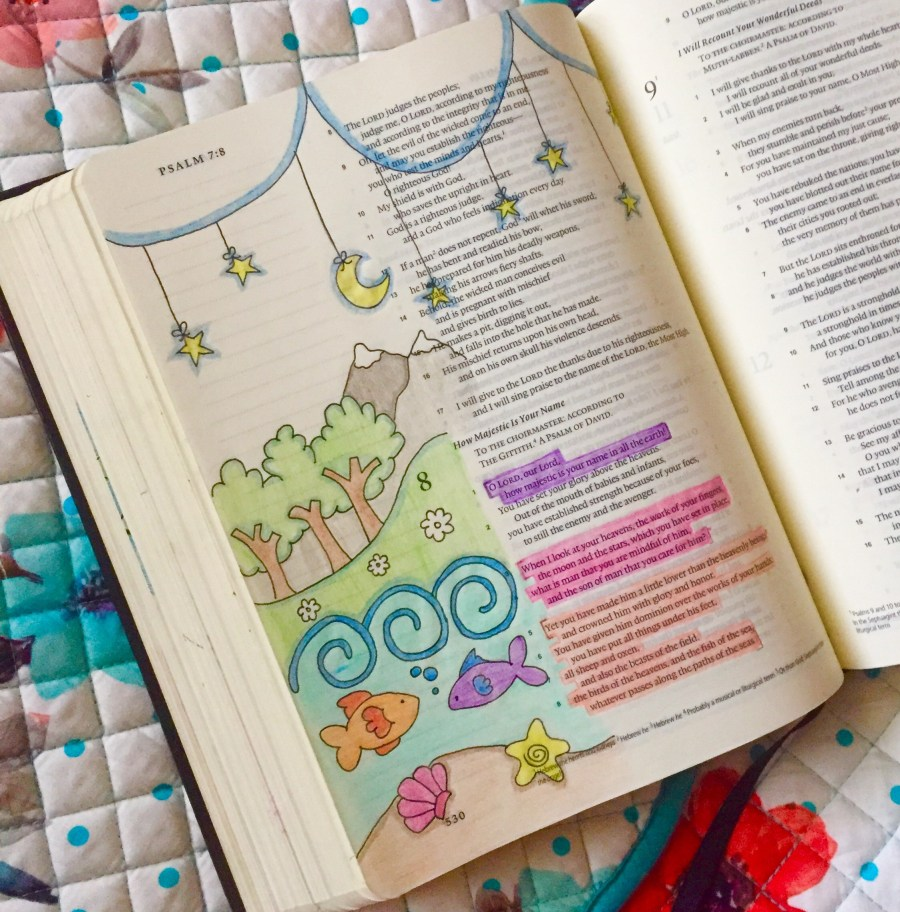 A peek at the art inside my Bible.