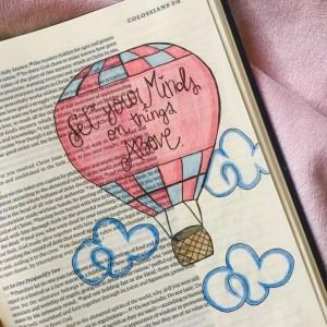 Hot air balloon Bible art.