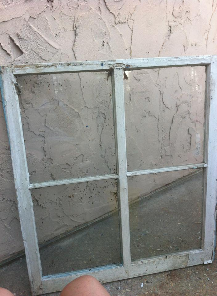 Old window that we turned into a picture frame.