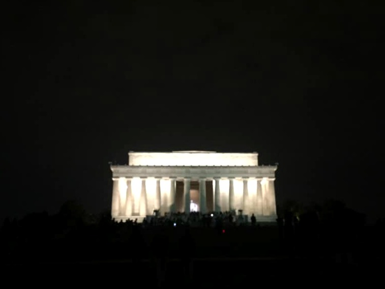 The Lincoln Memorial at night.