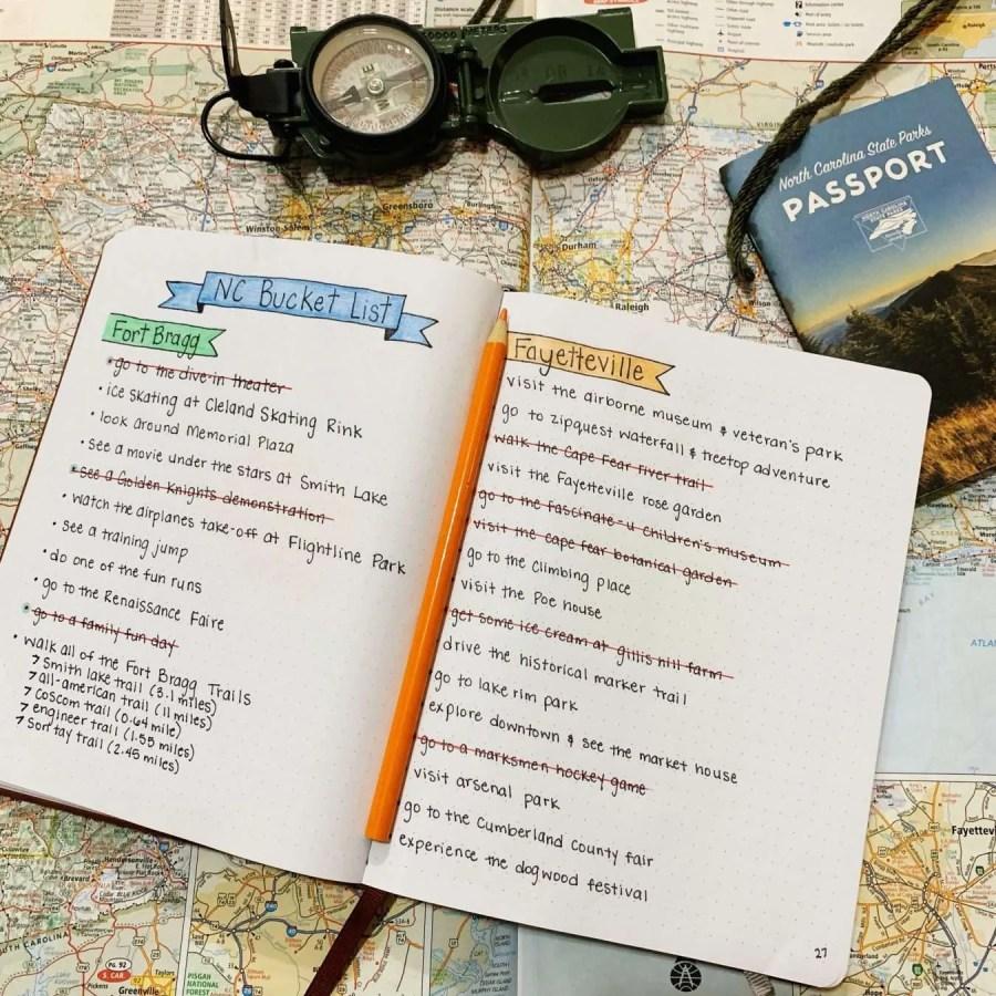 The beginning of my Fort Bragg Bucket List in my travel bullet journal.