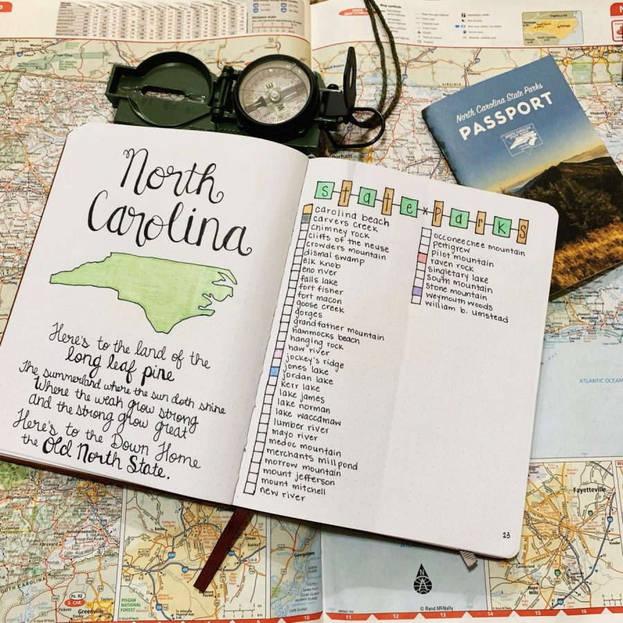The beginning my North Carolina section of my travel bullet journal.
